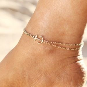 Jewelry - DOUBLE GOLD PLATED CHAIN ANCHOR ANKLE BRACELET